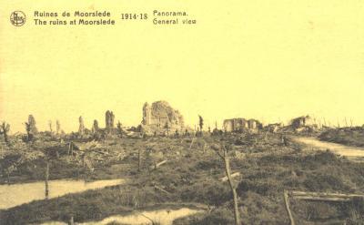 Panorama ruïnes van Moorslede, 1914-18