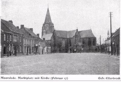Marktplein met kerk in Moorslede, februari 1917