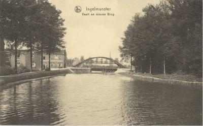 Zicht op de centrumbrug, Ingelmunster, ca 1910