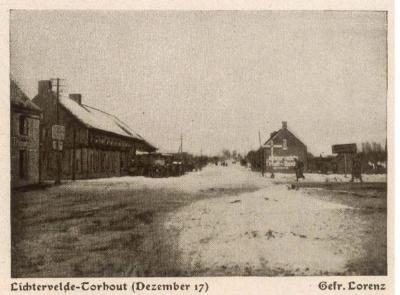 Straat Lichtervelde-Torhout, december 1917