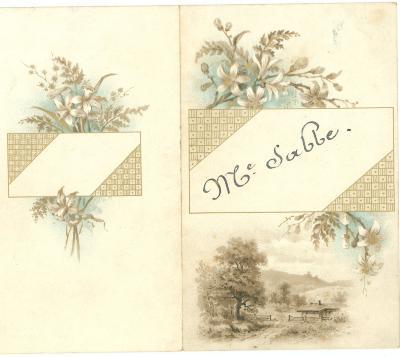 Franstalige menukaart 1891