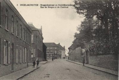 Zicht op de Stationsstraat en Bruggestraat, Ingelmunster, ca 1910