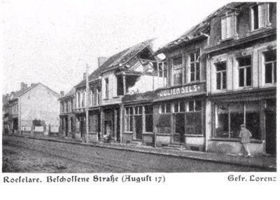 Beschoten straat in Roeselare, augustus 1917