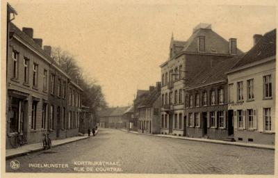 Zicht op Stationsstraat, toen Kortrijkstraat, Ingelmunster, ca 1910