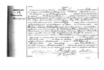 Geboorteakte van Romania Vervaeke, Lichtervelde 1 februari 1915