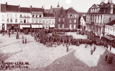 Concert met Duitse militaire muziekkapel Grote Markt, Roeselare 2 juli 1915