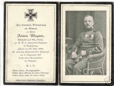 Bidprentje 'Feldwebel' Anton Wagner overleden te Dadizele 4 september 1947
