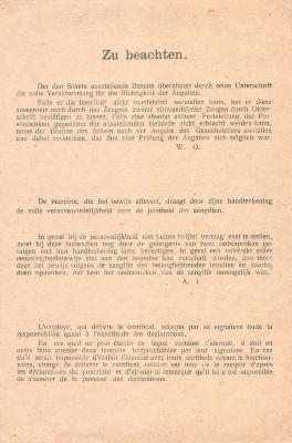 Achterkant idendtiteitskaart Armand Strobbe, Izegem