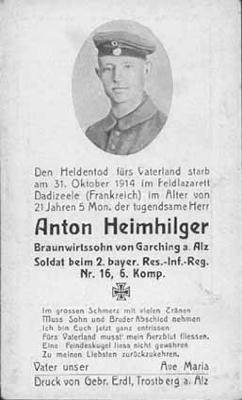 Bidprentje van Duitse soldaat Anton Heimhilger, Dadizele 30 oktober 1914