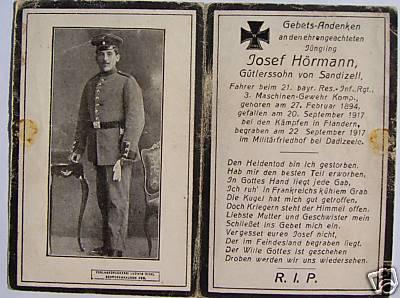 Bidprentje Jozef Hörmann, Dadizele 20 september 1917
