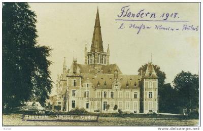 Duitse prentkaart met kasteel en kerk, Dadizele 1918