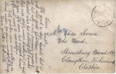 Briefkaart van Gabrielle Soenen aan zus in Birkenhead (Groot-Brittannië)