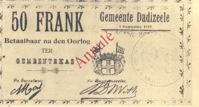 50 frank oorlogsgeld, Dadizele 1 augustus 1915