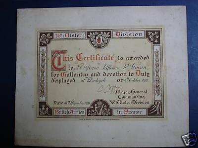 Brits oorlogscertificaat, Dadizele