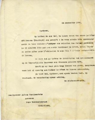 Brief van stad Roeselare aan Alfons Van Moerbeke, 24 september 1926