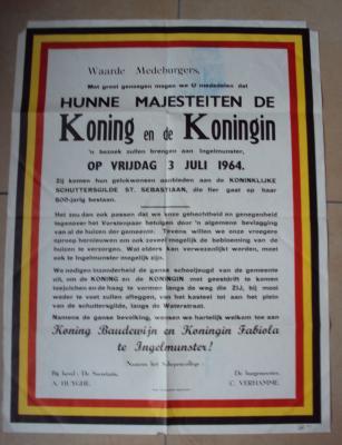 Aankondiging koninklijk bezoek, Ingelmunster, 1964