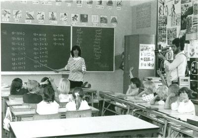 Camera in het eerste leerjaar, Lichtervelde, juni 1988