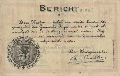 Achterzijde kasbon 1 frank