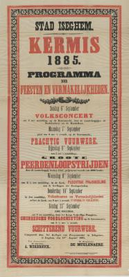 Affiche kermis, Izegem, september 1885