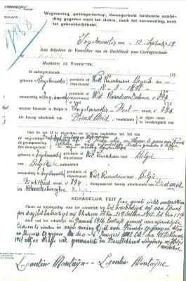 Document in verband met gevangenschap van Léontine Monteyne tijdens WOI.