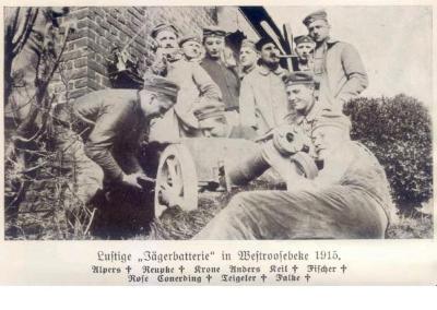 Vrolijke soldaten, Westrozebeke, 1917