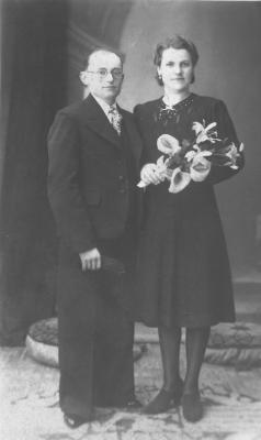 Huwelijksfoto Leon Corteville en Maria Carlier
