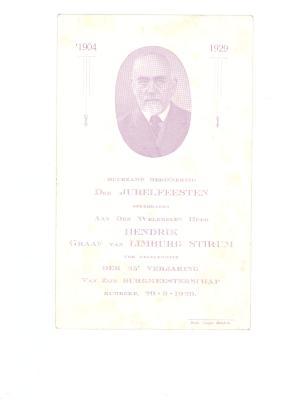 Menukaart burgemeester, 1929