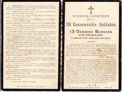 Bidprentjes gesneuvelde soldaten en gedode burgers, 1918, Hooglede