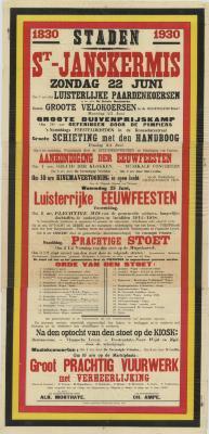 Affiche St.-Janskermis, Staden, 22 juni 1930