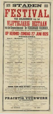 """Affiche Festival vijftigjarig bestaan """"De Vereenigde Vrienden"""", Staden, 27 juni 1926"""