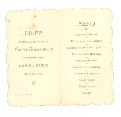 Franstalige menukaart, 1921