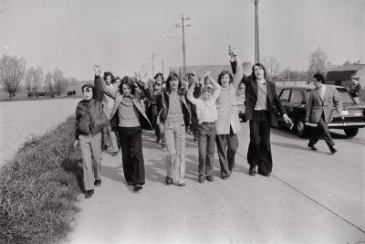 Betoging kinderen pastoor Slypskapelle, mei 1974