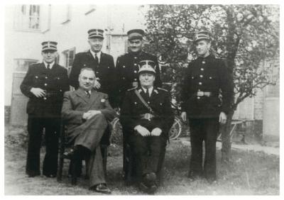 Politiekorps en burgemeester, Ingelmunster, ca 1950