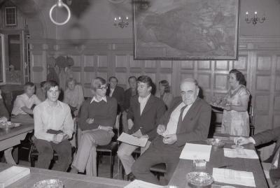 Depoorter, Dessein en studenten ontvangen op gemeentehuis, Moorslede september 1973