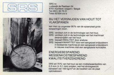 Publiciteit van SRS, Izegem, +/- 1985