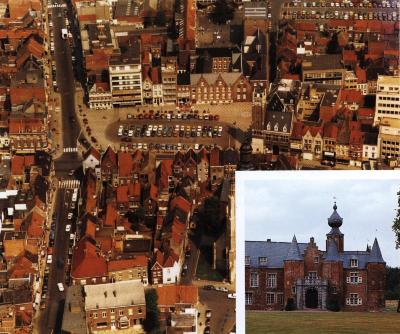 Luchtfoto van de Grote Markt , Roeselare, +/- 1985