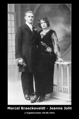 BRAECKEVELDT Marcellus Augustus en JOLIT Jeanne,  Ingelmunster, 1923