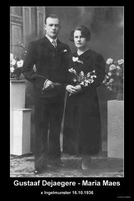DE JAEGERE Gustavus Leo Paulus en MAES Maria Julia, Ingelmunster, 1936