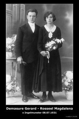 DEMASURE Gerard Antoine en ROSSEEL Magdalena Angela, Ingelmunster, 1931