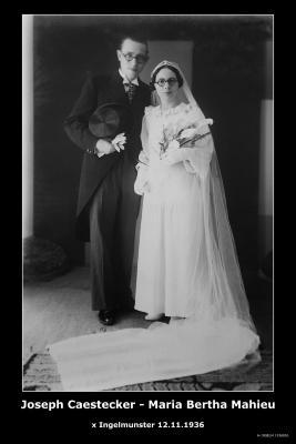 CAESTECKER Joseph Ferdinand Henri Marie en MAHIEU Maria Bertha, Ingelmunster, 1936
