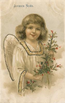 Beeldzijde kerstkaart, lachende engel met hulsttak