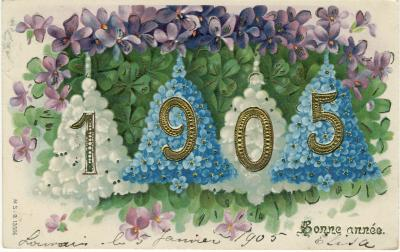 Beeldzijde nieuwjaarskaart, overvloed geluksbrengers,  1905
