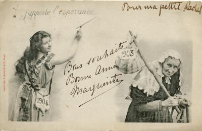Beeldzijde nieuwjaarskaart, jonge en oude vrouw, 1904