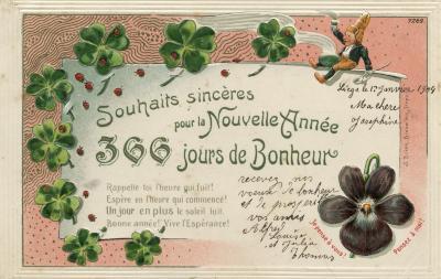 Beeldzijde nieuwjaarskaart, 366 dagen van geluk, 1904