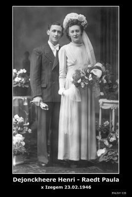 Dejonckheere Henri en Raedt Paula, Izegem, 1946