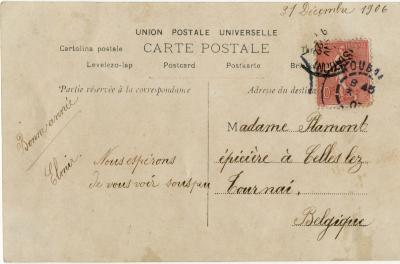 Postzijde nieuwjaarskaart, 1906