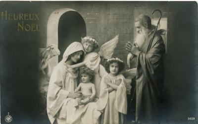 Beeldzijde kerstkaart, fotokaart stalletje Betlehem, 1912