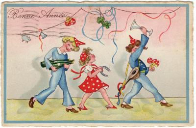 Beeldzijde nieuwjaarskaart, fuivende jongeren, 1935