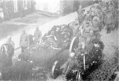 Begrafenisstoet van Oberleutnant Freiherr von Bulcke