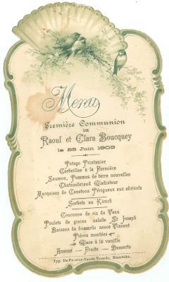 Franstalige menukaart 1903